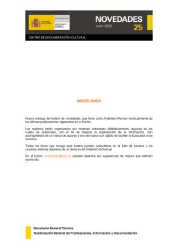 Nº 25. Junio 2008. Miscelánea - Ministerio de Educación, Cultura y