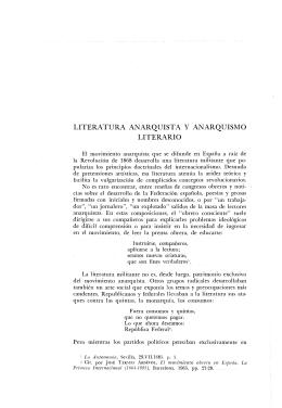 LITERATURA ANARQUISTA Y ANARQUISMO LITERARIO
