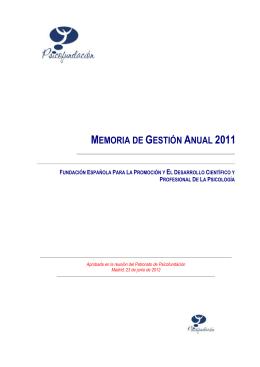 memoria de gestión anual 2011