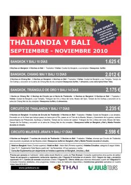 THAILANDIA Y BALI