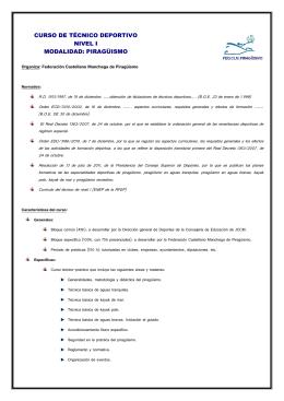 curso de técnico deportivo nivel i modalidad: piragüismo