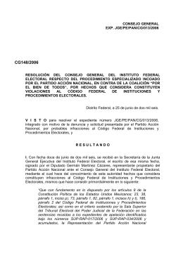 CG148/2006 - Instituto Nacional Electoral