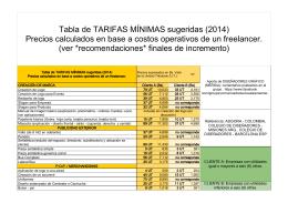 Tabla de TARIFAS MÍNIMAS sugeridas (2014