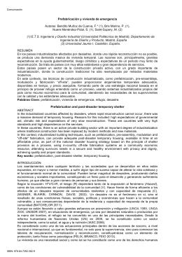 Prefabricación y vivienda de emergencia Autores: Bendito Muñoz