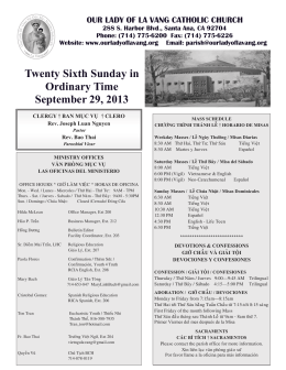 Twenty Sixth Sunday in Ordinary Time September 29, 2013