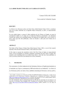 LA LABOR TRADUCTORA DE LAS CLARISAS EN ESPAÑA