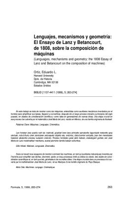 Lenguajes, mecanismos y geometría: El ensayo de Lanz y