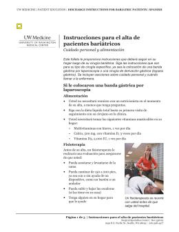 Instrucciones para el alta de pacientes bariátricos