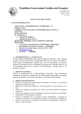 Microbiologia Veterinaria (T-L) - Pontificia Universidad Católica del