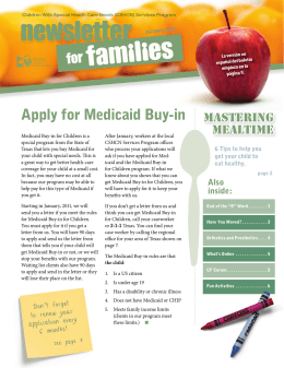 January 2011 CSHCN Newsletter for Families