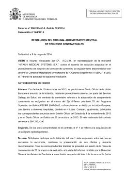 Recurso nº 288/2014 C.A. Galicia 025/2014 Resolución nº 364/2014