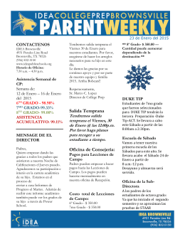 23 de Enero del 2015--Parent Weekly