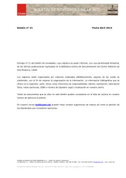 Boletín nº 21 Fecha Abril 2014 - Centro Atlántico de Arte Moderno