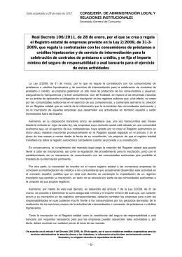 Real Decreto 106-2011 registro empresas Ley 2