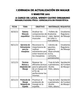 I JORNADA DE ACTUALIZACIÓN EN MASAJE