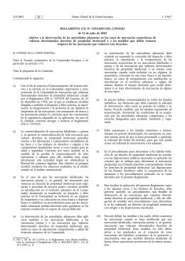 REGLAMENTO (CE) No 1383/2003 DEL CONSEJO de 22