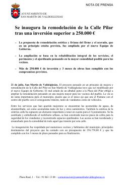 nota de prensa inauguracion pilar - Ayuntamiento de San Martín de