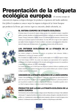 Presentación de la etiqueta ecológica europea El sistema
