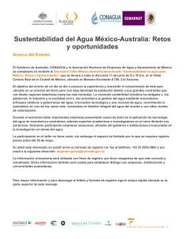 Sustentabilidad del Agua México-Australia: Retos y