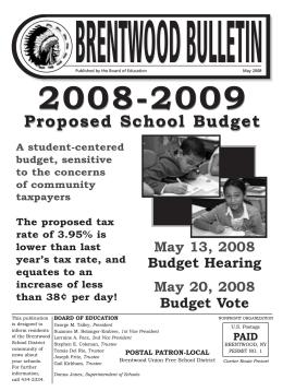 Proposed School Budget Proposed School Budget
