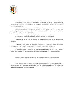 Page 1 El Club Social Orcelis le informa que a partir del lunes 22 de