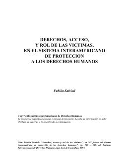 derechos, acceso, y rol de las victimas, en el sistema interamericano