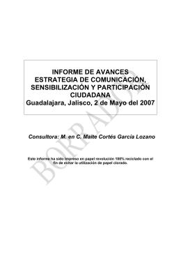 INFORME DE AVANCES ESTRATEGIA DE