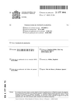INSTALACION DE PLANTACION.(ES2177884)