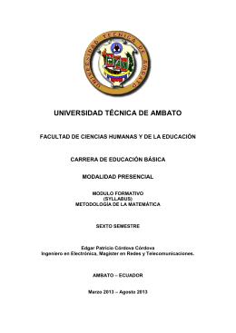 Metodología de la Matemática - Universidad Técnica de Ambato