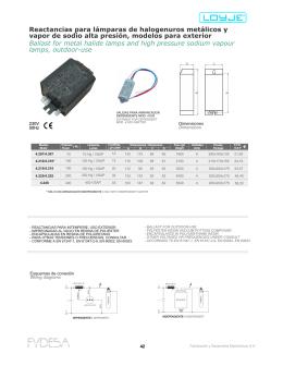 Reactancias para lámparas de halogenuros metálicos y vapor de