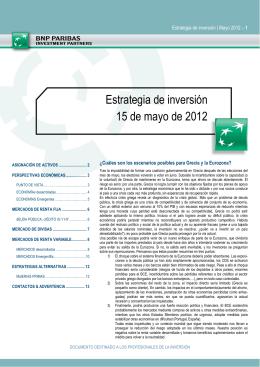 Estrategia de inversión 15 de mayo de 2012