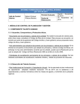 INFORME PORMENORIZADO DE CONTROL INTERNO LEY 1474