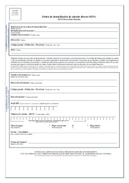Autorización para la domiciliación de pagos