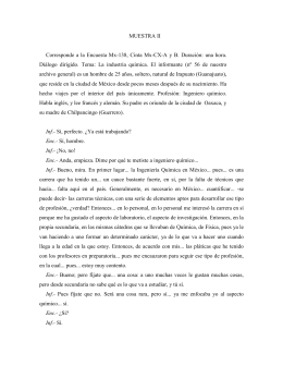 MUESTRA II Corresponde a la Encuesta Mx-138, Cinta Mx-CX