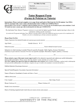 Tutor Request Form
