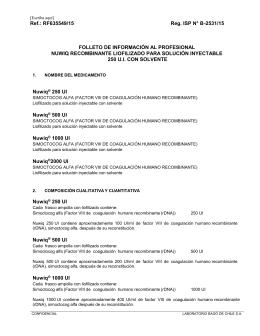 Nuwiq recombinante liofilizado para solución inyectable 250 U.I.