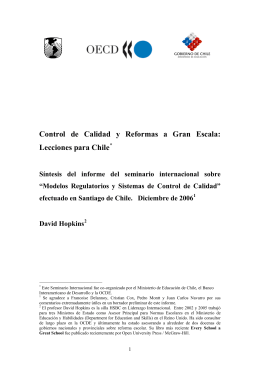 Control de calidad y reformas a gran escala: Lecciones para Chile