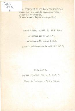 Manifiesto sobre el Fair Play - Biblioteca Nacional de Maestros