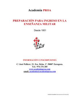 Academia PROA PREPARACIÓN PARA INGRESO EN LA