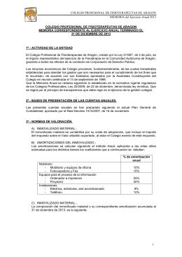 Memoria Cuentas Anuales - Ilustre colegio de fisioterapeutas de