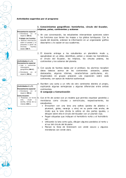 Actividades sugeridas por el programa I. Conocimientos geográficos