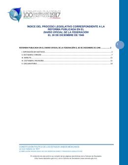 1 índice del proceso legislativo correspondiente a la reforma