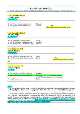 """KM de SEPTIEMBRE DE 2015 TEMA DEL MES: Demos """"testimonio"""