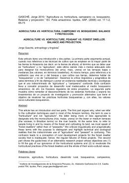 """1 GASCHÉ, Jorge 2010: """"Agricultura vs. horticultura, campesino vs"""