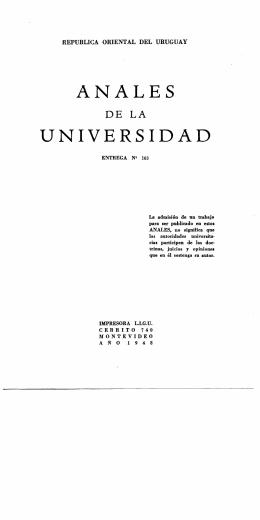 ANALES UNIVERSIDAD - Publicaciones Periódicas del Uruguay