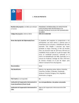 I.- FICHA DE PROYECTO Nombre del proyecto ( se debe usar