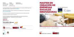 MASTER EN CREACIÓN DE EMPRESAS SOCIALES INNOVADORAS