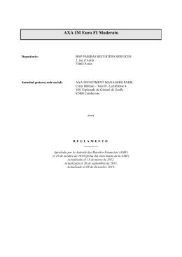 AXA IM EURO FI MODERATO - Estatutos o Reglamento