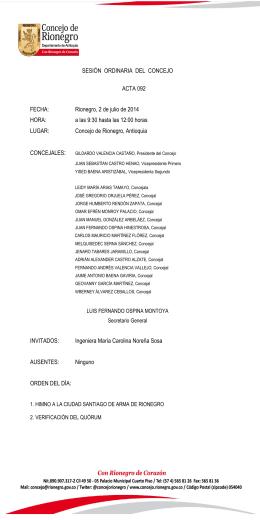 ACTA 092 DE 2014 - Concejo Municipal Rionegro Antioquia
