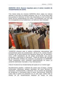 DOMOTEX 2014: Nuevos impulsos para el sector mundial de